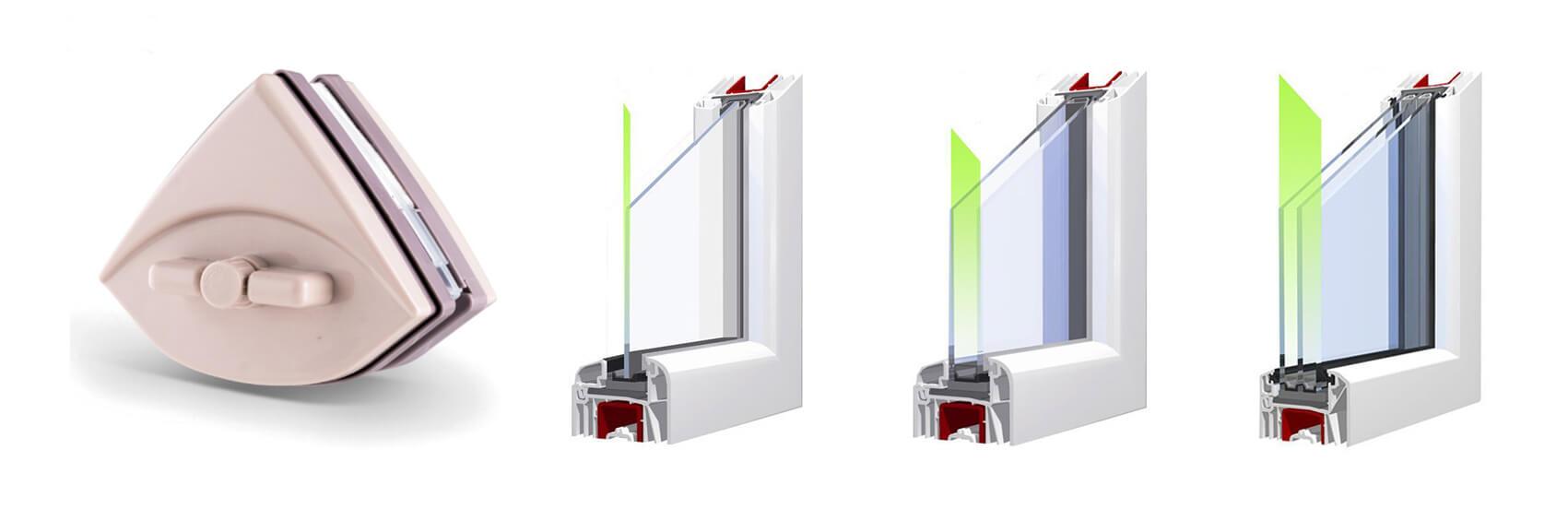 Magnetische Fensterputzer - einstellbar Typ A.