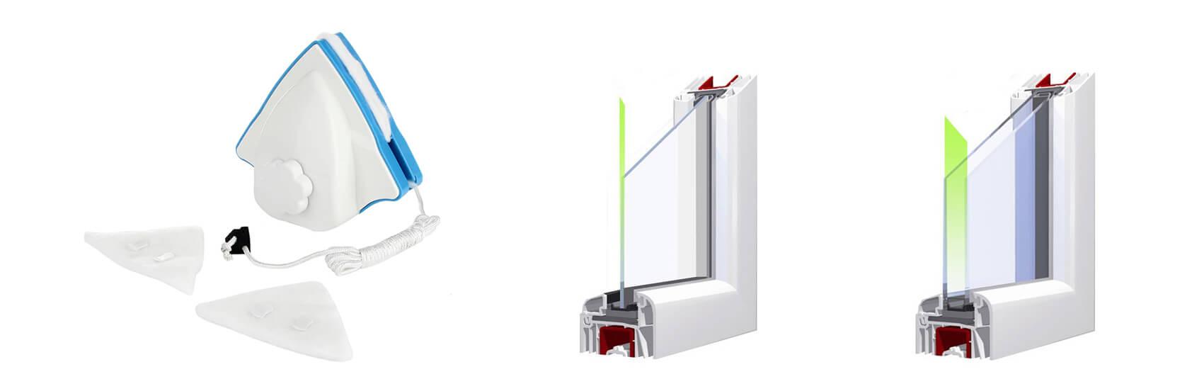 Magnetische Fensterputzer - einstellbar Typ B.